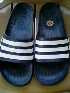 98577e06f Adidas Flip Flops Slip On Open Toe Blue White Sandals Men Shoes 12 ...