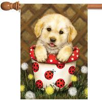 Toland - Potted Puppy - Cute Dog Ladybug Spring Flower House Flag