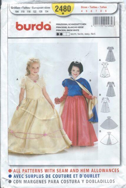 Burda Sewing Pattern Girls\' Princess & Snow White Costume Size 4 - 9 ...
