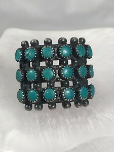 Vintage Zuni Native Indian Sterling Silver Turquoise Needlepoint Ring Size 7.75