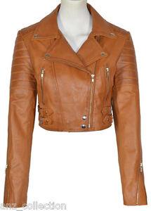 Leather Short Tan Ladies Liz Cropped Biker Washed Nappa Jacket Fashion Sheep 7P81qZ