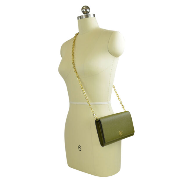 3149fe0a76d3 NWT Tory Burch ROBINSON Leather Chain Wallet Crossbody Clutch Bag Olive  Green