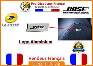 2-Logo-BOSE-enceinte-grille-sigle-ALUMINIUM-emblem-STICKERS-PORSCHE-AUDI-BMW-VW