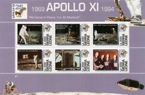 APOLLO-XI-Moon-Landing-Buzz-Aldrin-amp-US-Flag-Space-Stamp-Sheet-1994-Sierra-Leone