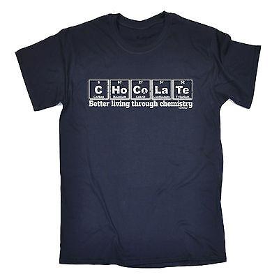 Cioccolato Migliore Vivendo Attraverso La Chimica Da Uomo T-shirt Tee Regalo Geek-mostra Il Titolo Originale Modellazione Duratura
