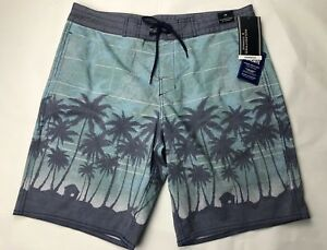 Roundtree-amp-Yorke-Mens-Board-Shorts-34-Swim-Suit-Green-Palm-Trees-Cotton-Bld-NEW