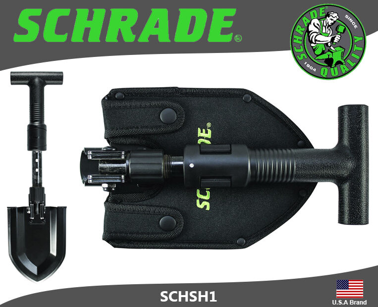Schrade 1055 Carbon Steel Handle Up to 19  Telescoping Folding Shovel SCHSH1