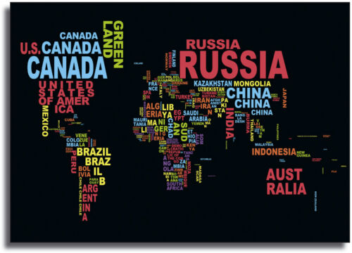 A0 A1 A2 A3 A4 Sizes World Map Country Names Framed Giant CANVAS PRINT