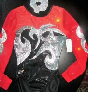 Alpha-Factor-Long-Sleeve-Red-Competition-Foil-Crystals-Leotard-ASM-Gymnastics