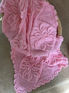 Baby-Traditional-Blanket-Pram-Cover-Knitting-Pattern-Roses-and-Leaves-4ply-915