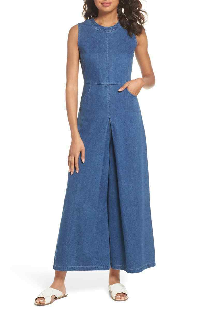 Caara Women Hampton Denim Sleeveless Jumpsuit  Light Wash  Large.
