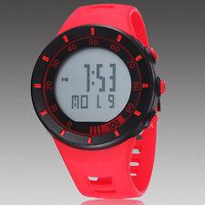 Red OHSEN Digital Quartz LED Light Womens Waterproof Rubber Band Wrist Watch
