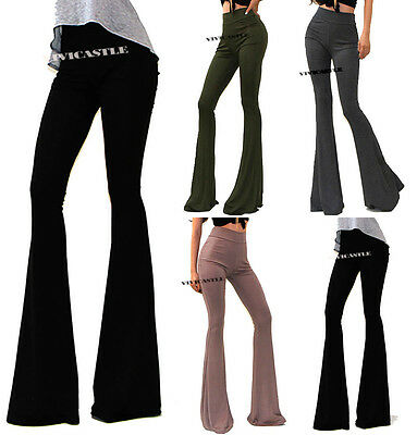 VIVICASTLE USA MADE HIGH WAIST WIDE LEG LONG FLARED TROUSERS  BELL BOTTOM PANTS