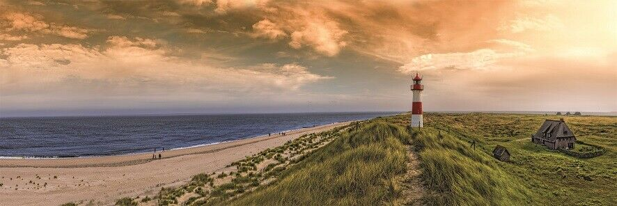 Wandbild Bild Leuchtturm Meer Strand Wasser Leinwandbild 150 x 50 x 10 cm