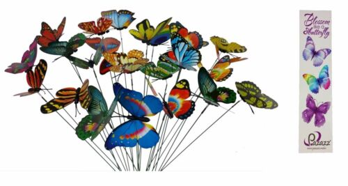 24 Colourful Garden Plastic Butterflies On  Sticks With Butterfly Bookmark