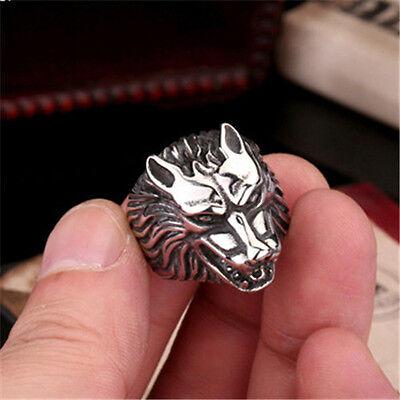 1X Men PUNK gothic hammer akuro silver stainless steel wolf werewolf finger ring