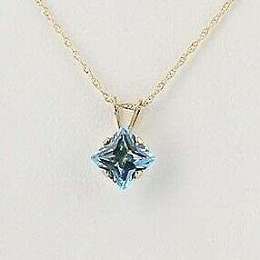 New-Blue-Topaz-Pendant-Necklace-10k-Yellow-Gold-18-034-Princess-Solitaire-0-80ct