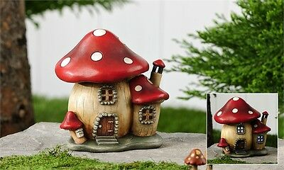 FAIRY GARDEN Miniature ~ Lighted Red Spotted Mushroom House ~ Mini Dollhouse