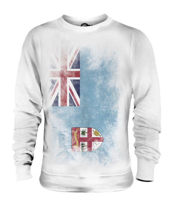 FIJI FADED FLAG UNISEX SWEATER TOP VITI FOOTBALL FIJIAN GIFT SHIRT