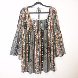 Altar-039-d-State-Womens-Black-and-Orange-Floral-Boho-Babydoll-Dress-Size-Small