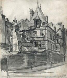 FRANK LEWIS EMANUEL (1865-1948) Pencil Drawing RUE DES HARANGUERIE ROUEN FRANCE