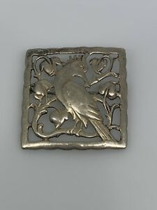 large sterling silver with pattern cutout Bird Brooch