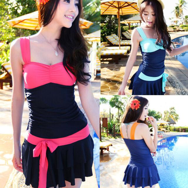 Sexy Women's Swimwear One-Piece Swimsuit Halter Backless Dress Swim Suit Skirt