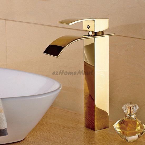 oro lucido ottone a cascata rubinetto lavandino del bagno Leva Singola Miscelatore Lavabo Rubinetto