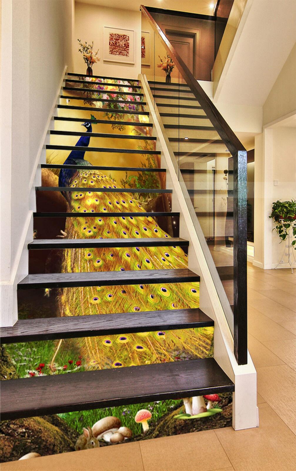 3D Gelb Pfau 856 Stair Risers Dekoration Fototapete Vinyl Aufkleber Tapete DE