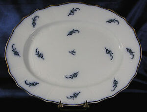 ANTIQUE-FLOW-BLUE-PLATTER-RIDGWAY-WORM-SPRIG-CIRCA1881