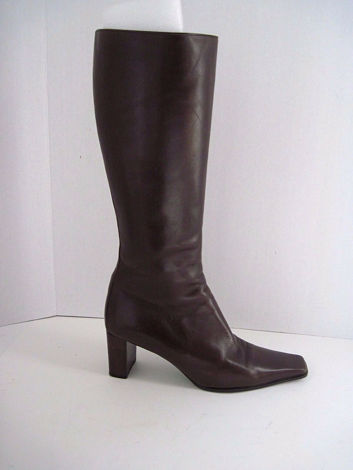 Authentic BALLIN Brown Soft Leather Pointed Toe boots Size Zip Size Eu 39