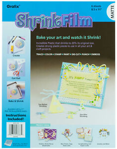 "Grafix Baking Shrink Film Art Plastic 8.5"" x 11"" Sheets Matte 6 Sheets"