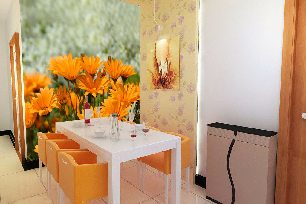 3D Orangefarbene Blumen 56 Tapete Tapeten Mauer Foto Familie Tapete Wandgemälde