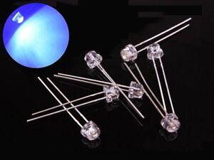 S384-50 Stück 5mm LEDs blau klar Kurzkopf straw hat Flachkopf blue