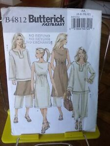 Oop-Butterick-Easy-4812-misses-boho-dress-tunic-cropped-pants-sz-6-12-NEW