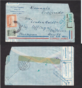 Ecuador-1953-Air-Mail-Aereo-Overprint-Registered-Cover-Opened-in-Germany