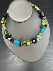 Ladies-Multi-Color-vintage-bohemian-choker-necklace-Flexible-16-inches-long