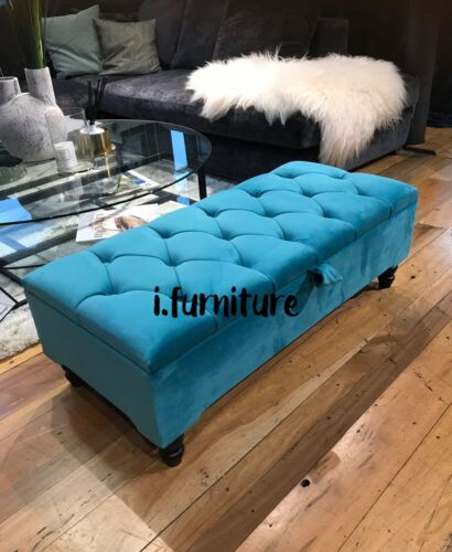 TEAL AQUA ottoman storage footstool velvet upholstered bench seat * BRAND NEW