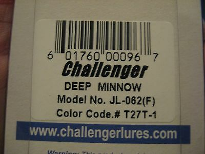 "Challenger 4 1//2/"" Deep Minnow Dives 15/'-20/' Fishing Lure T27T-1 UV Met Purple"