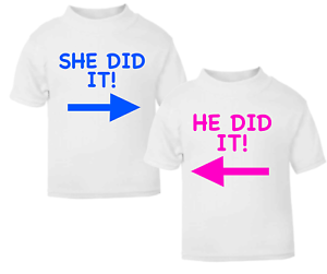 He did it She did it Twin Set Kids T-shirt Children Top Children/'s Novelty