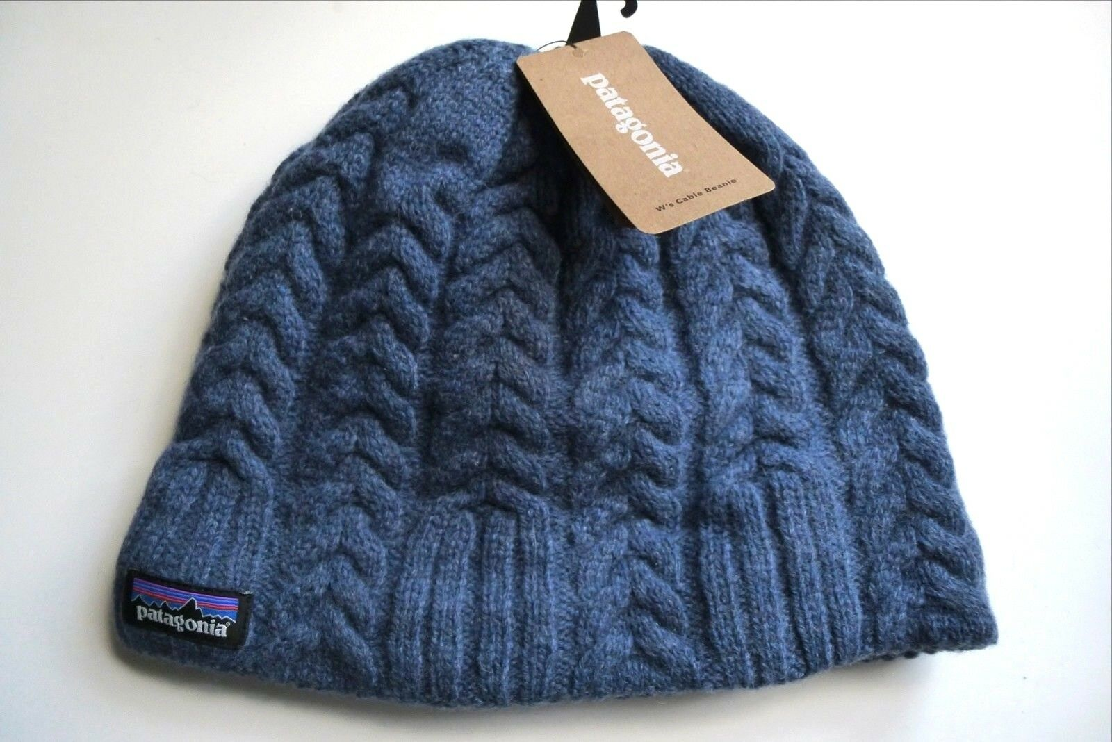 PATAGONIA bluee Heather Wool Cable Fleece Lined BEANIE Hat Toque New Tag UNISEX