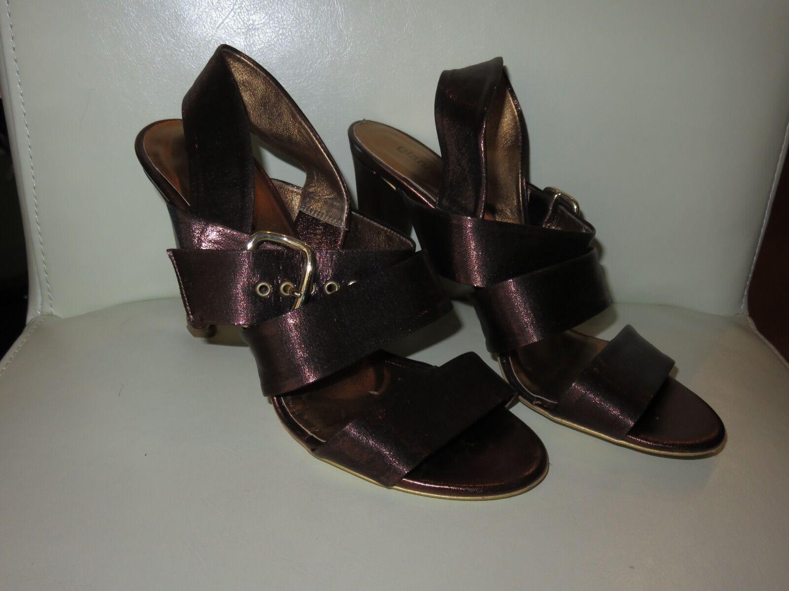 New Gianna Meliani Italian leather women's sandals copper shimmer, size 36.5