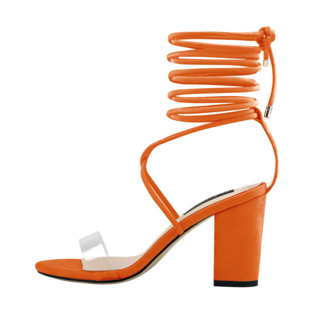 Onlymaker Women's Chunky Heel Lace Up Clear Band Open Toe Sandals Orange Size 15