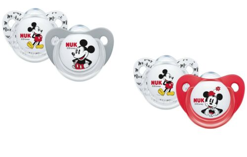 Size 2 Design may Vary Nuk Disney Mickey// Minnie Silicone Soother Size 1