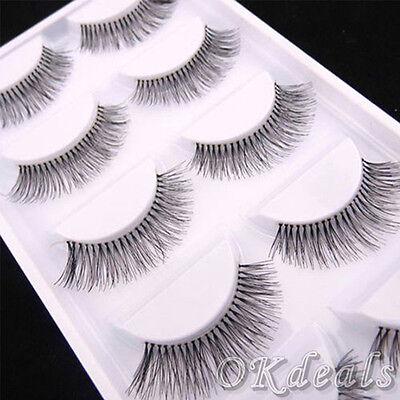 5Pairs Natural Sparse Cross Eye Lashes Extension Makeup Long False Eyelashes TOP