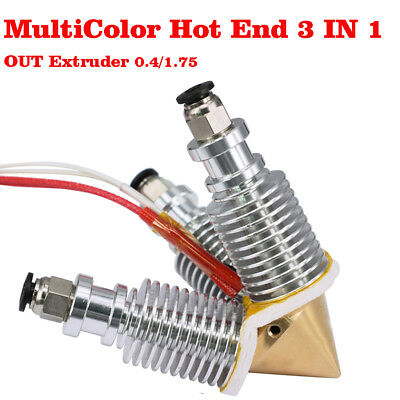 1.75//0.4mm V6 Diamond Hotend 3 IN 1 OUT Multi Color Extruder Kit Prusa Reprap US