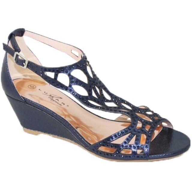 565ed3a29 Flc111 Denton Strap Diamante Rhinestone PEEP Toe Wedge Sandals Bag ...