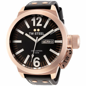 TW-Steel-CE1022-Men-039-s-Canteen-50mm-Rose-Gold-Tone-Black-Dial-Leather-Watch