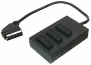 3 Way Scart Switch Box Splitter Lead Cable Plug Sockets Adaptor