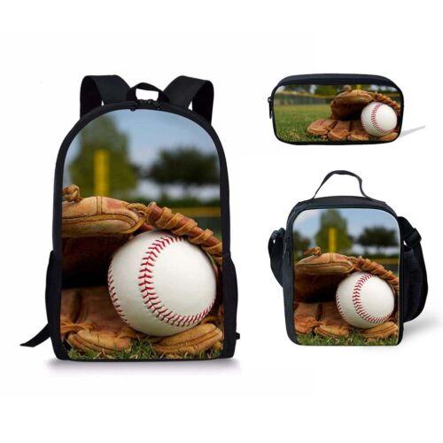 Baseball Imprimé Sac à dos 3pcs Set cartable avec sac à Lunch Cooler Sacs Cas de crayon